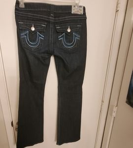 True Religion blue stitching bootcut jeans